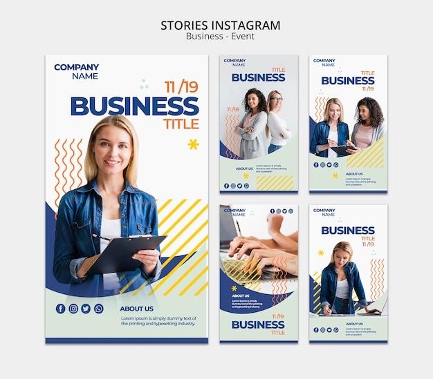 Plantilla de historias de instagram con concepto de mujer de negocios PSD gratuito