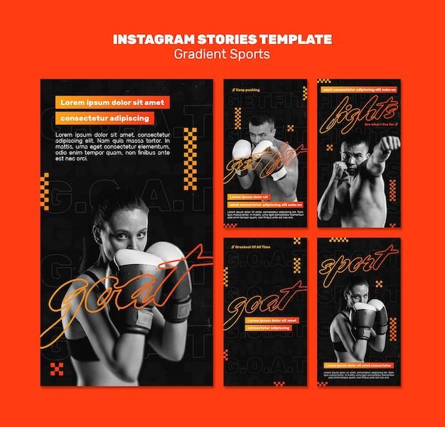 Plantilla de historias de instagram de deportes de lucha PSD Premium