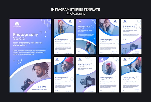 Plantilla de historias de instagram de estudio de fotografía PSD gratuito