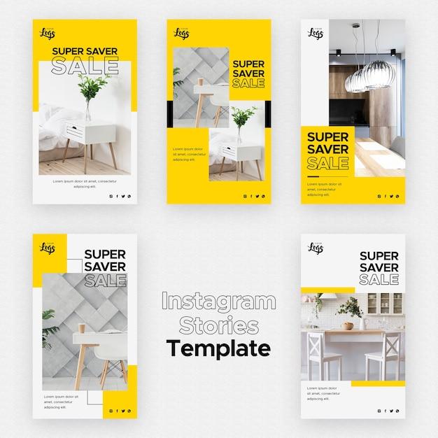 Plantilla de historias de instagram con negocio de decoración del hogar PSD gratuito