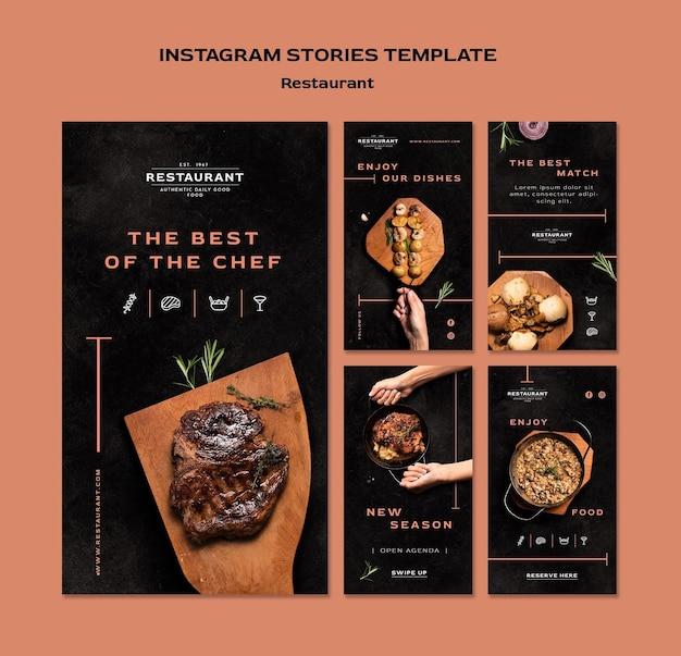Plantilla de historias de instagram de promoción de restaurante PSD gratuito