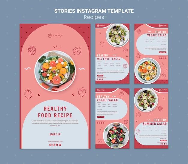 Plantilla De Historias De Instagram De Receta De Comida Saludable Archivo Psd Gratis