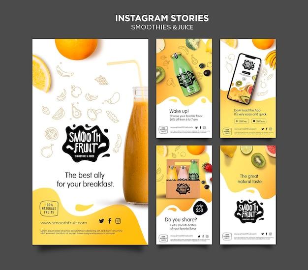Plantilla de historias de instagram de smoothie bar PSD gratuito