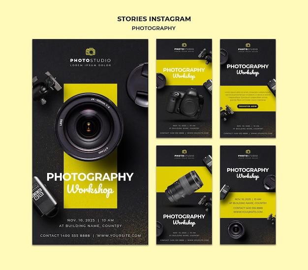 Plantilla de historias de instagram para taller de fotografía PSD gratuito
