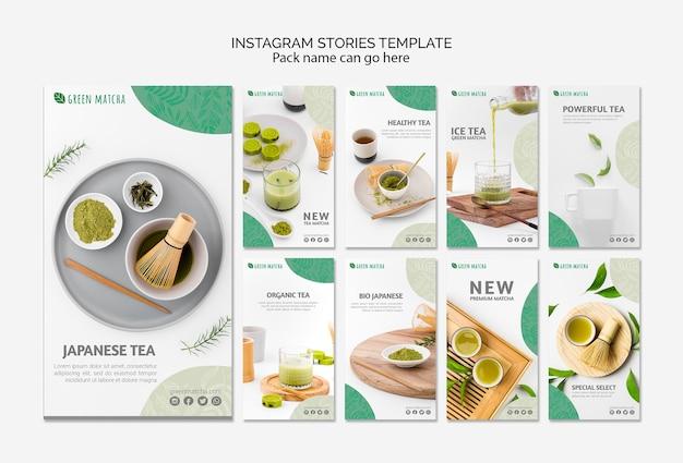 Plantilla de historias de instagram de té matcha PSD gratuito