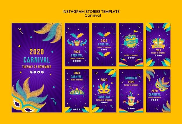 Plantilla de historias de instagram con tema de carnaval PSD gratuito