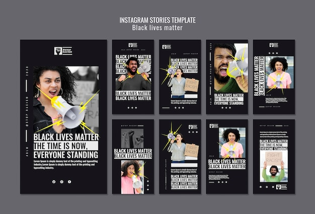 Plantilla de historias de instagram de vidas negras importa PSD gratuito
