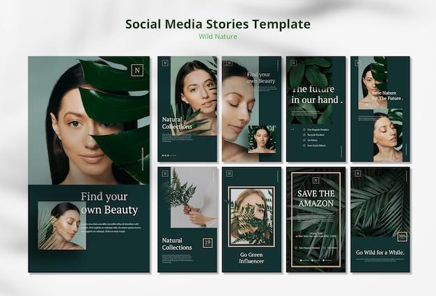 Plantilla de historias de redes sociales de concepto de naturaleza salvaje PSD gratuito