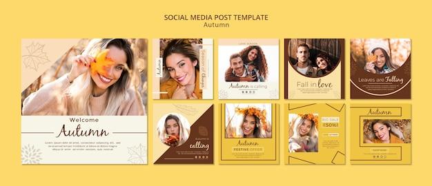 Plantilla de historias de redes sociales para fotos de otoño y chicas PSD gratuito