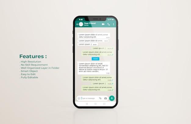 Plantilla de interfaz de whatsapp en maqueta de teléfono móvil PSD gratuito