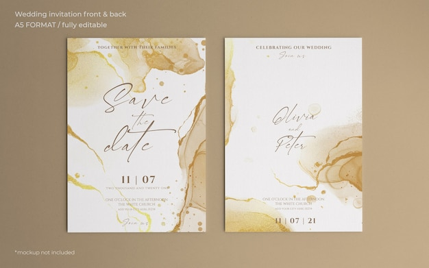 Plantilla de invitación de boda abstracta dorada PSD gratuito