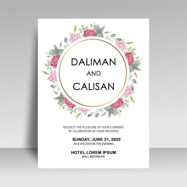 Plantilla de invitación de boda con decoraciones de acuarela rosa PSD Premium