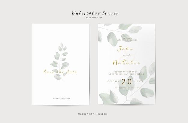 Plantilla de invitación de boda elegante con hojas de acuarela PSD gratuito