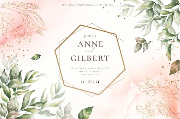 Plantilla de invitación de boda floral con flores suaves PSD gratuito