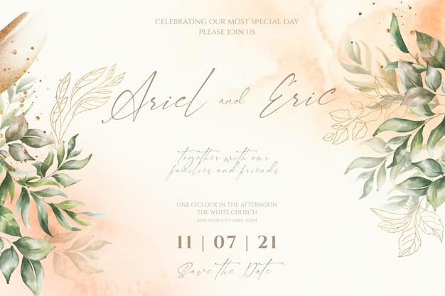 Plantilla de invitación de boda con hojas de acuarela PSD gratuito