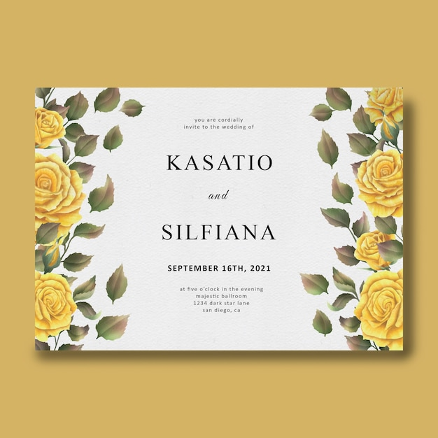Plantilla de invitación de boda con marco de flor rosa acuarela PSD Premium