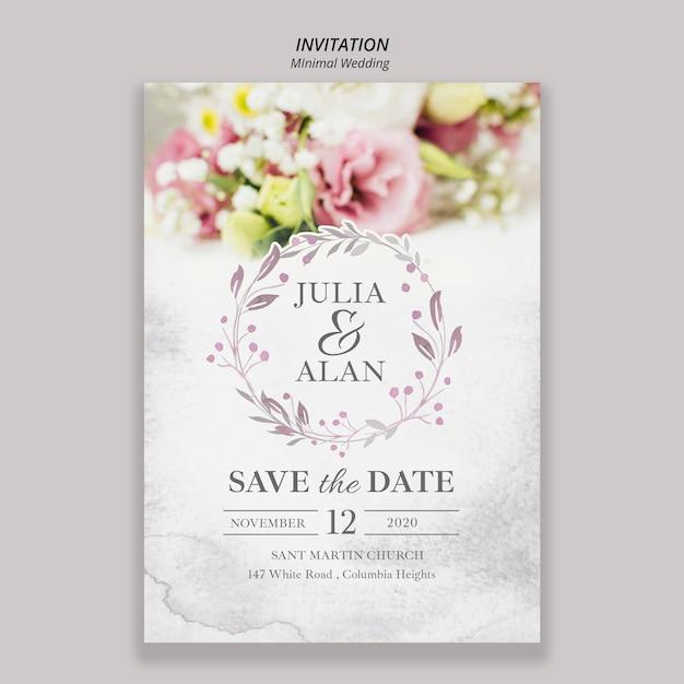Plantilla de invitación de boda minimalista floral PSD gratuito