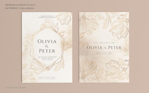 Plantilla de invitación de boda ornamental con naturaleza dorada PSD gratuito