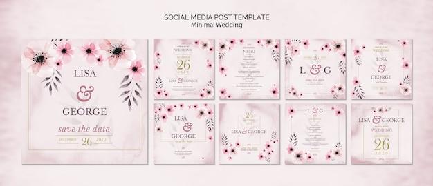 Plantilla de invitación de boda de redes sociales PSD gratuito