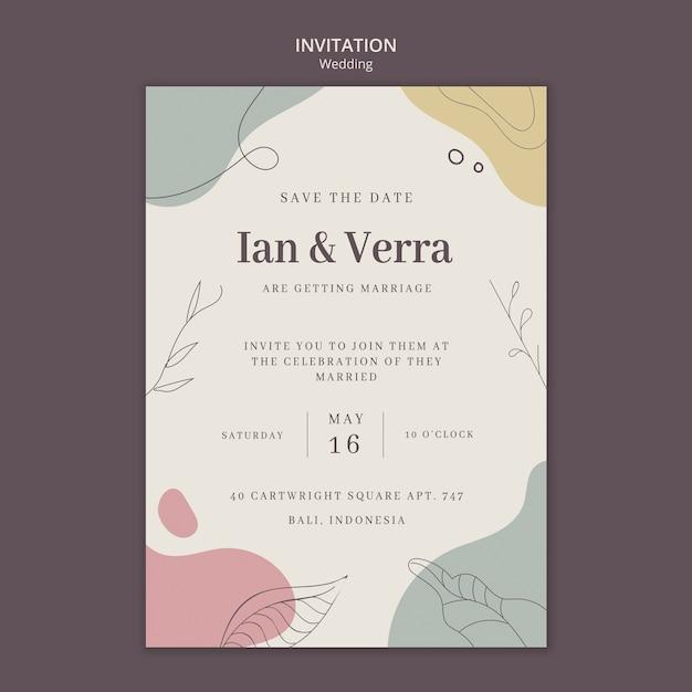 Plantilla de invitación de boda PSD gratuito