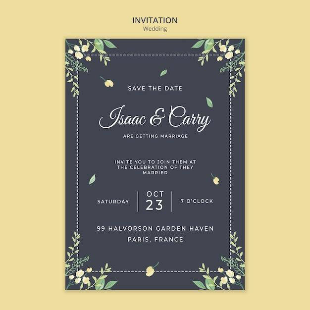 Plantilla de invitación de concepto de boda PSD gratuito