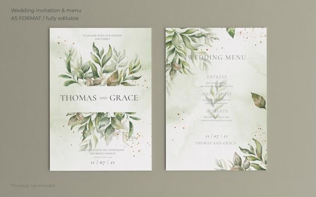 Plantilla de invitación y menú de boda con hermosas hojas PSD gratuito