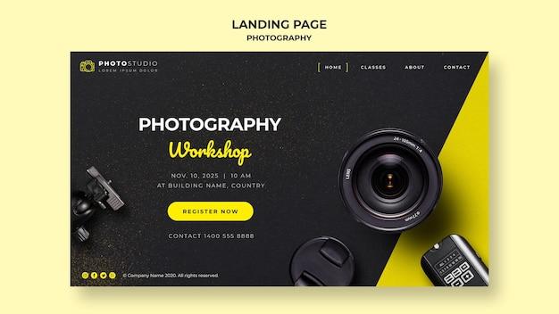 Plantilla de landing page de taller de fotografía PSD gratuito