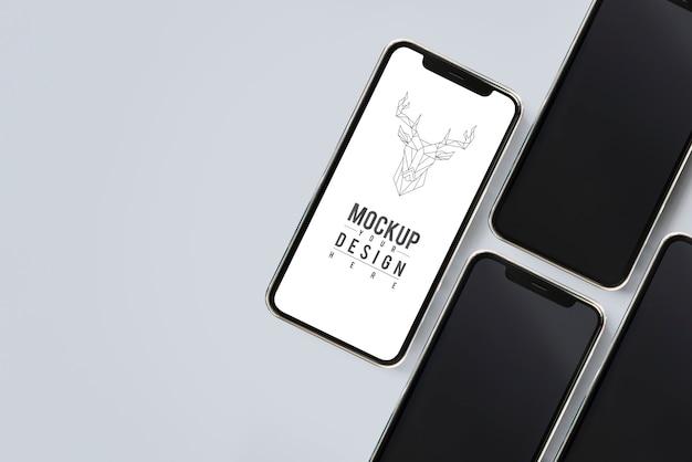 Plantilla de maqueta de pantalla de teléfono móvil premium PSD gratuito