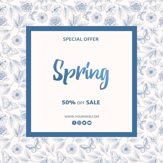 Plantilla de marco de oferta especial de primavera PSD gratuito