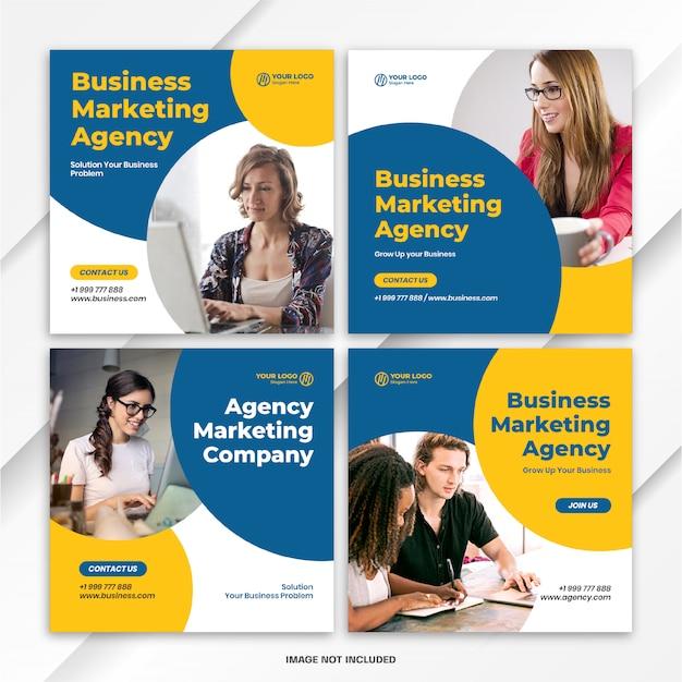 Plantilla de marketing empresarial de paquete de publicaciones de feed de instagram PSD Premium