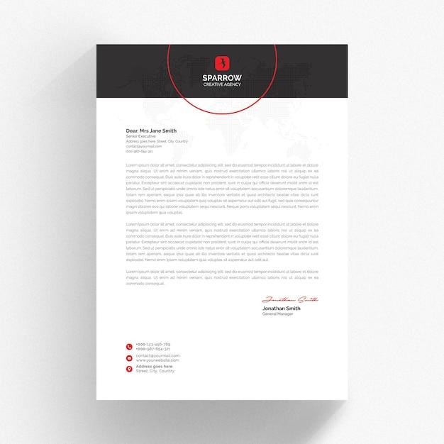 Plantilla de membrete en blanco y negro con detalles en rojo PSD Premium