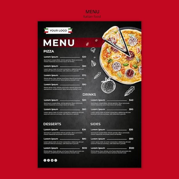 Plantilla de menú de comida italiana PSD gratuito