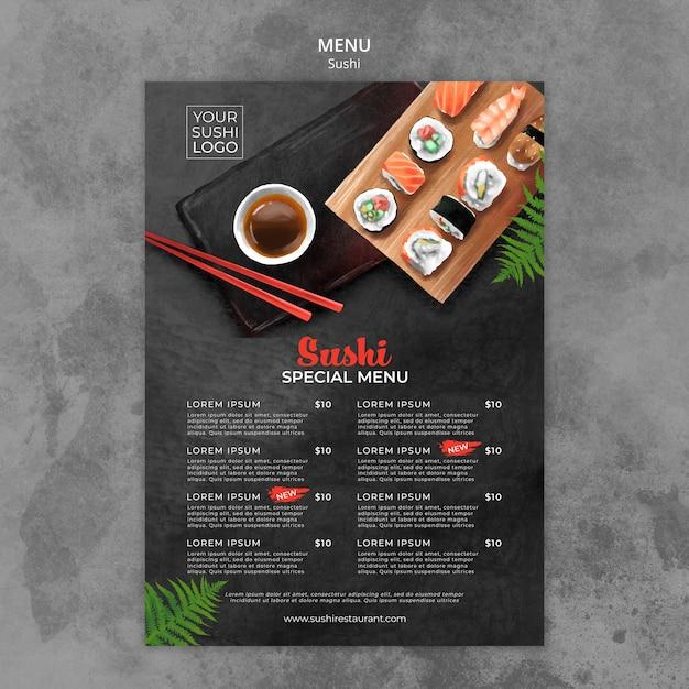 Plantilla de menú con diseño de día de sushi PSD gratuito