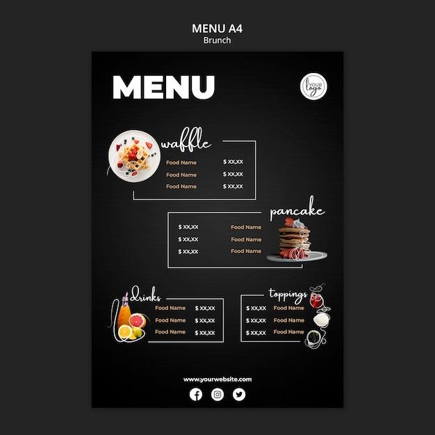 Plantilla de menú de diseño de restaurante de brunch PSD Premium