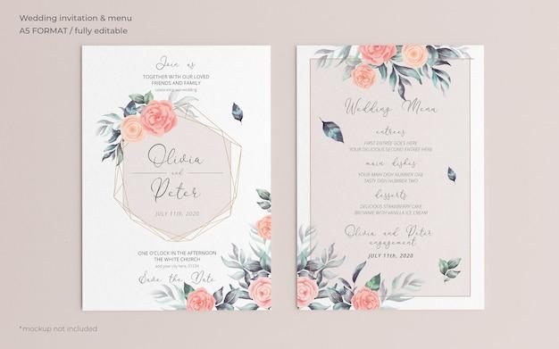 Plantilla de menú y invitación de boda floral suave PSD gratuito
