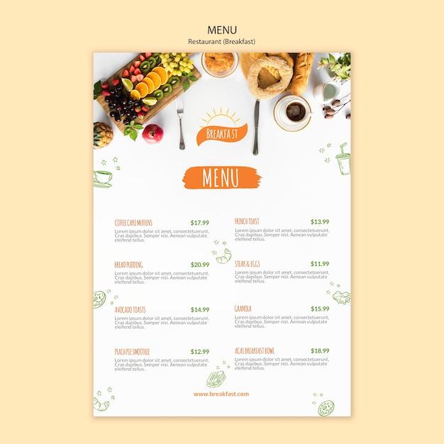 Plantilla de menú de restaurante de café y delicioso desayuno PSD gratuito