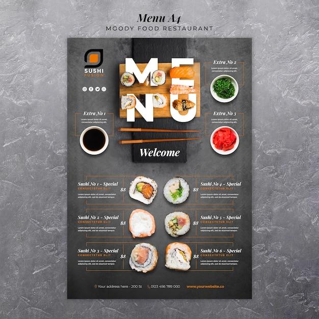 Plantilla de menú de restaurante de comida cambiante PSD gratuito