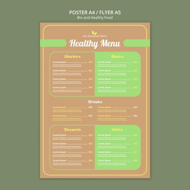 Plantilla de menú de restaurante saludable PSD gratuito