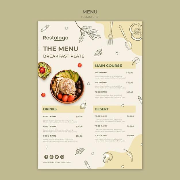 Plantilla de menú de restaurante PSD Premium