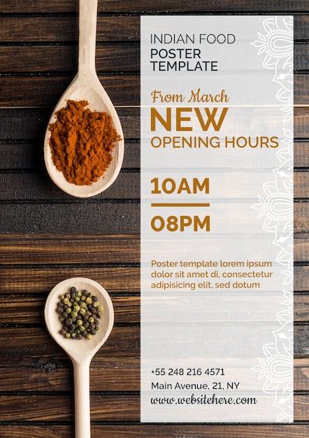 Plantilla moderna de cartel de comida hindú PSD gratuito