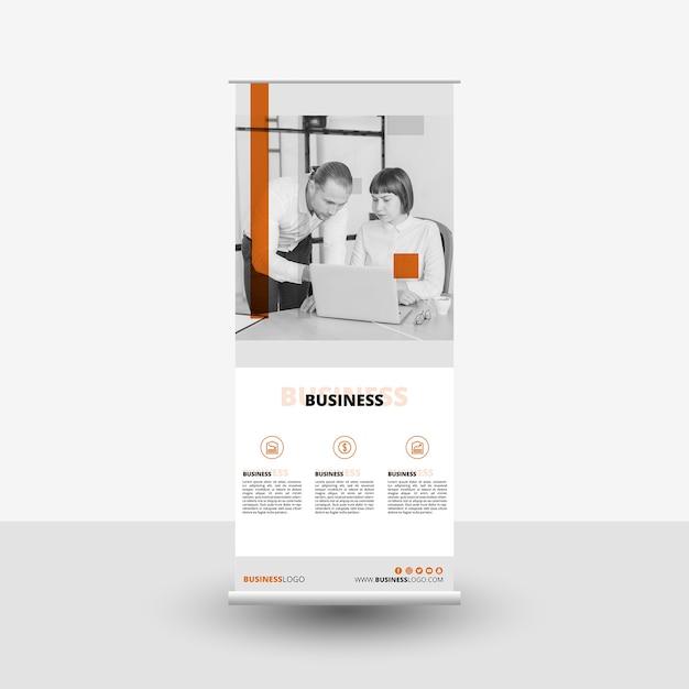 Plantilla moderna de roll up con imagen PSD gratuito