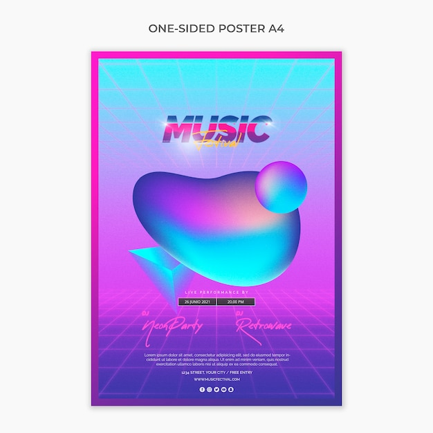 Plantilla de página a4 de cartel para festival de música de los 80 PSD gratuito