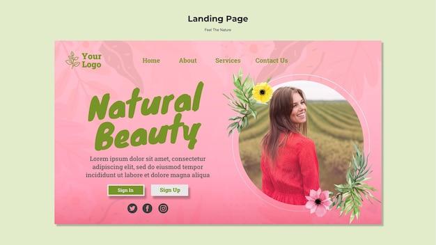 Plantilla de página de destino de belleza natural PSD Premium