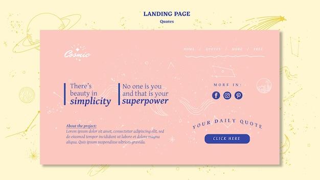 Plantilla de página de destino de concepto de cotizaciones PSD gratuito