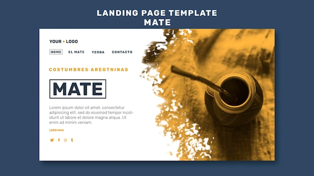 Plantilla de página de destino del concepto de mate PSD gratuito