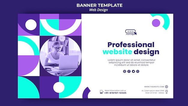 Plantilla de página de destino de diseño de sitio web profesional PSD gratuito