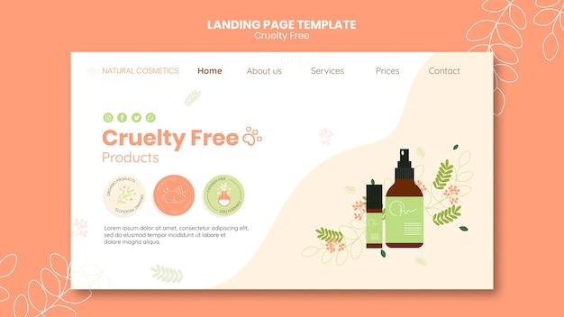 Plantilla de página de destino de productos libres de crueldad PSD gratuito