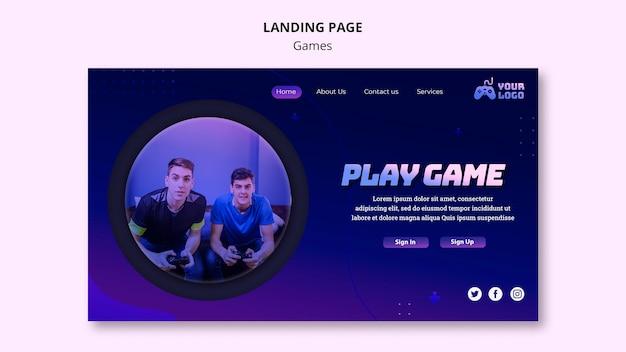 Plantilla de página de inicio de juego PSD gratuito