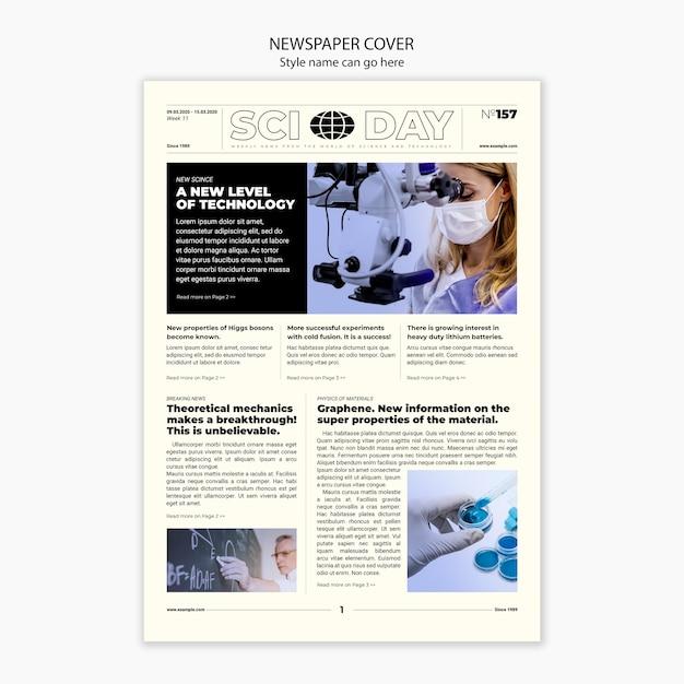 Plantilla de portada de artículo científico de periódico PSD gratuito