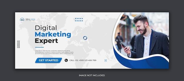 Plantilla de portada de facebook de redes sociales corporativas de marketing digital PSD Premium